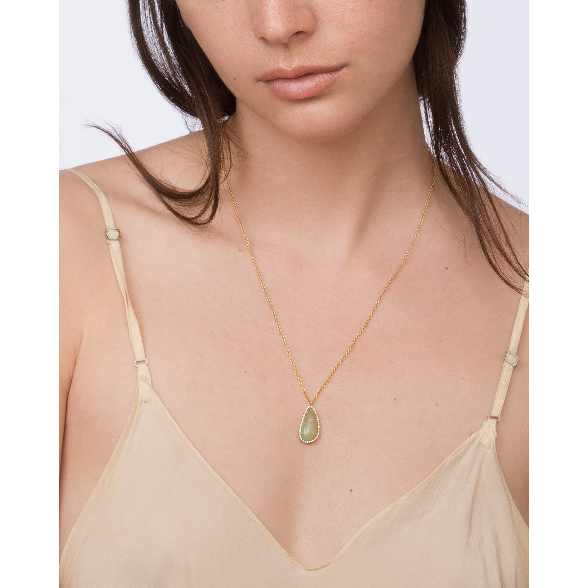 Gold & White Diamond Opal Necklace by Loriann Stevenson for Broken English Jewelry
