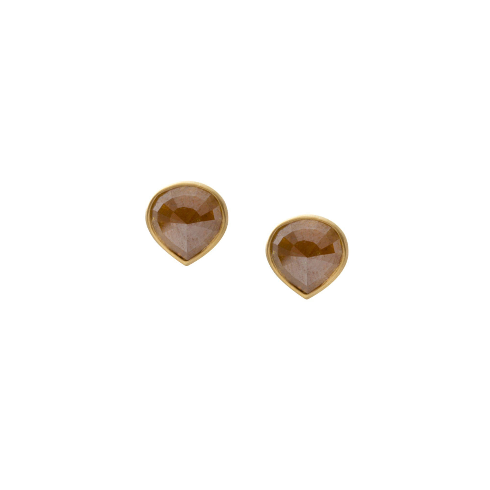 Gold Rose-Cut Diamond Studs by Loriann Stevenson for Broken English Jewelry