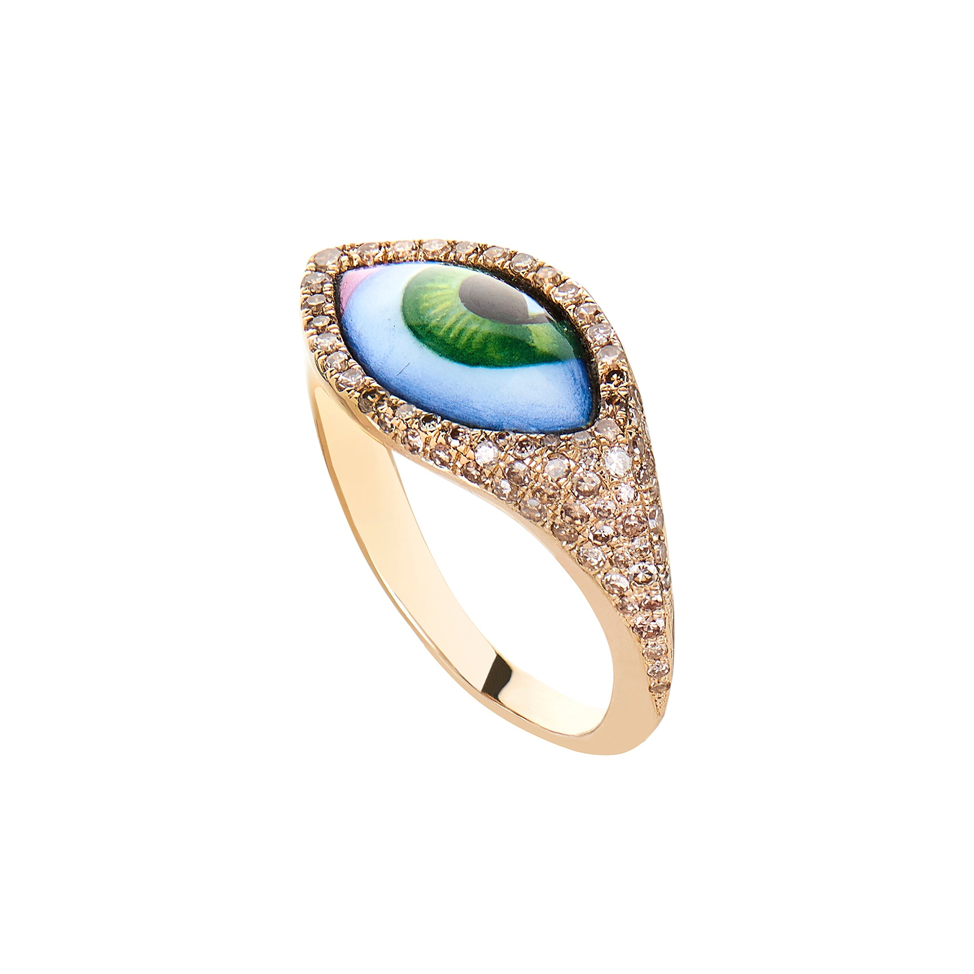 Small Green Eye Ring - Lito - Ring | Broken English Jewelry