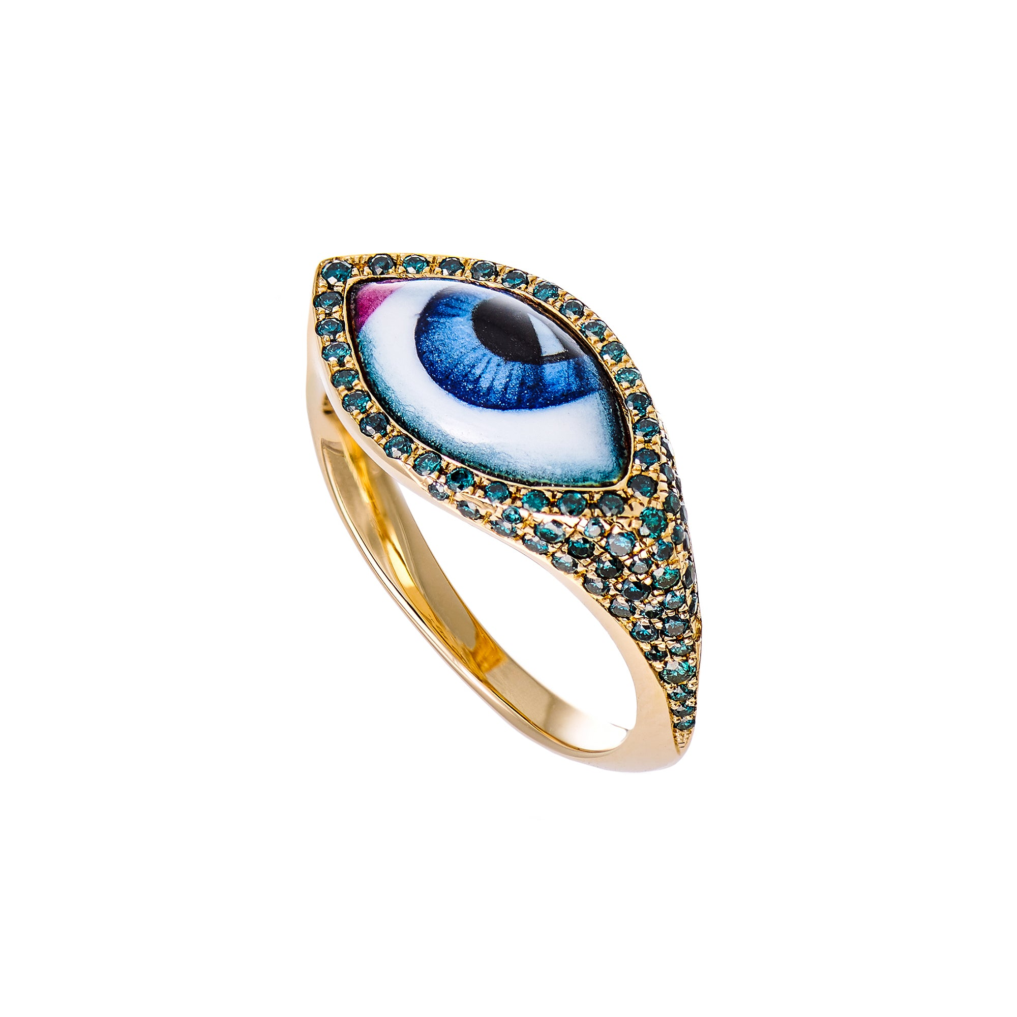 Small Blue Eye Ring - Lito - Ring | Broken English Jewelry