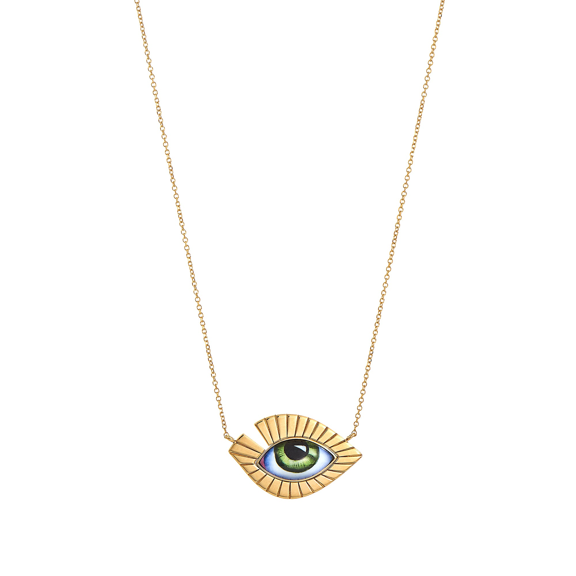 Green Eye Volume Lash Necklace - Lito - Necklace | Broken English Jewelry