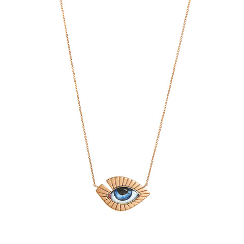 Blue Eye Volume Lash Necklace - Lito - Necklace | Broken English Jewelry