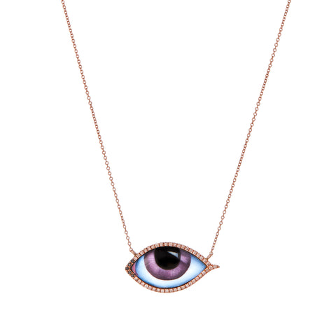 Diamond Purple Eye Necklace - Lito - Necklace | Broken English Jewelry
