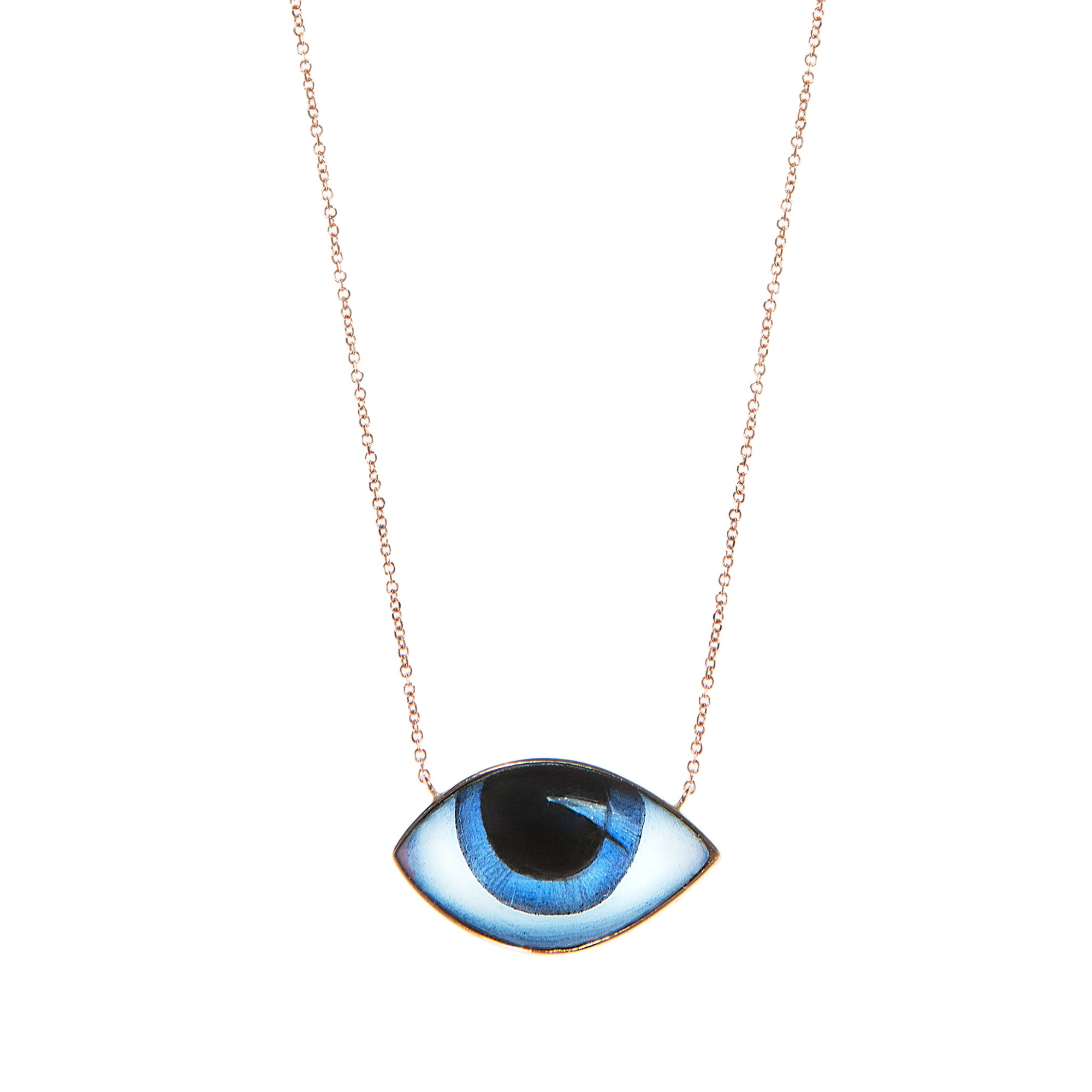 Big Blue Eye Necklace - Lito - Necklace | Broken English Jewelry