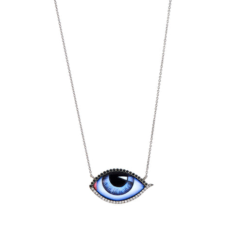 Large Diamond Blue Eye Necklace - Lito - Necklace | Broken English Jewelry