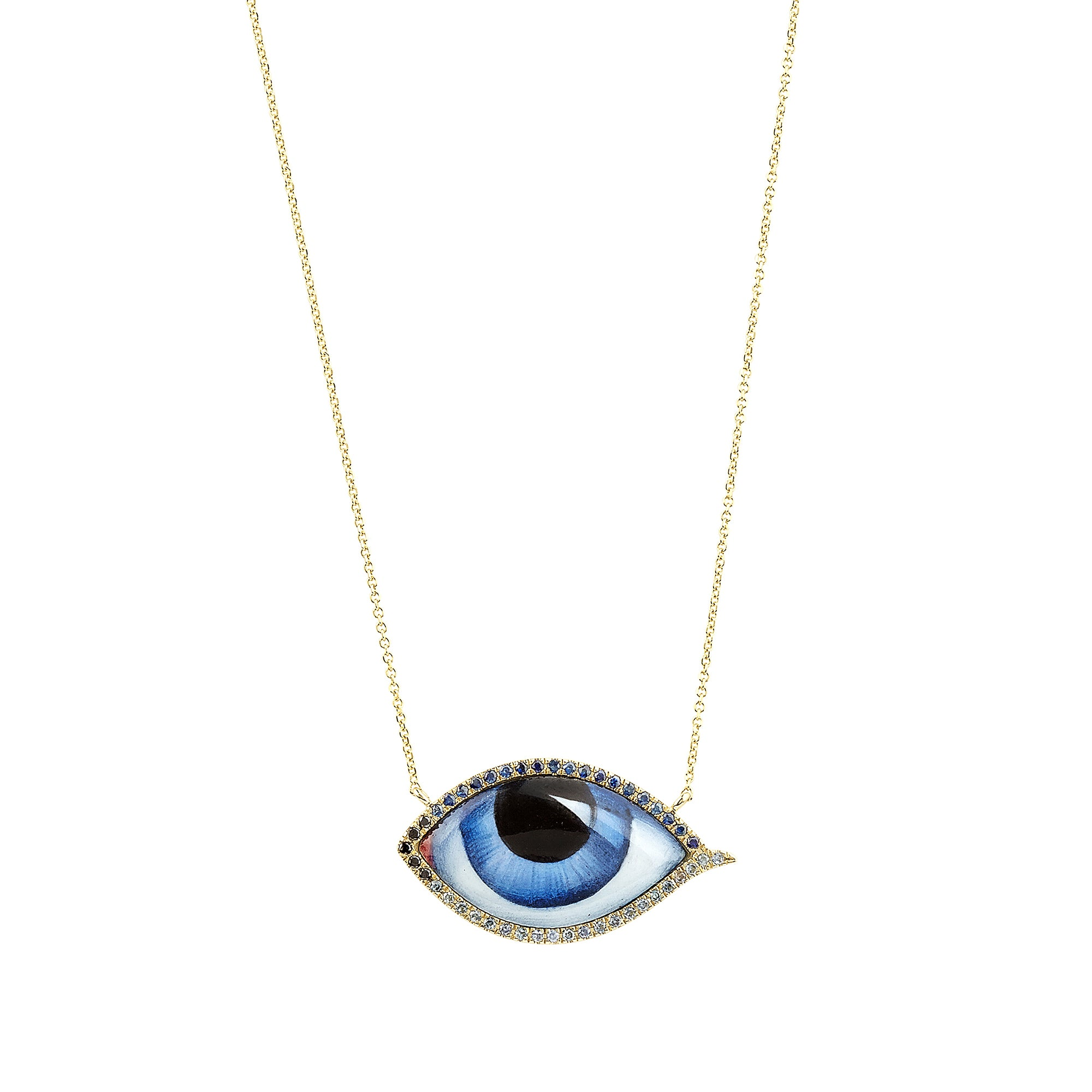 Sapphire & Diamond Blue Eye Necklace - Lito - Necklace | Broken English Jewelry