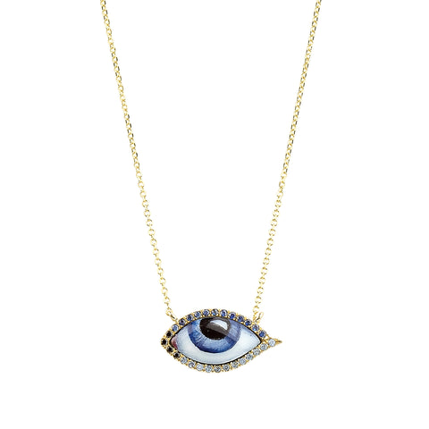 Small Sapphire Blue Eye Necklace - Lito - Necklace | Broken English Jewelry