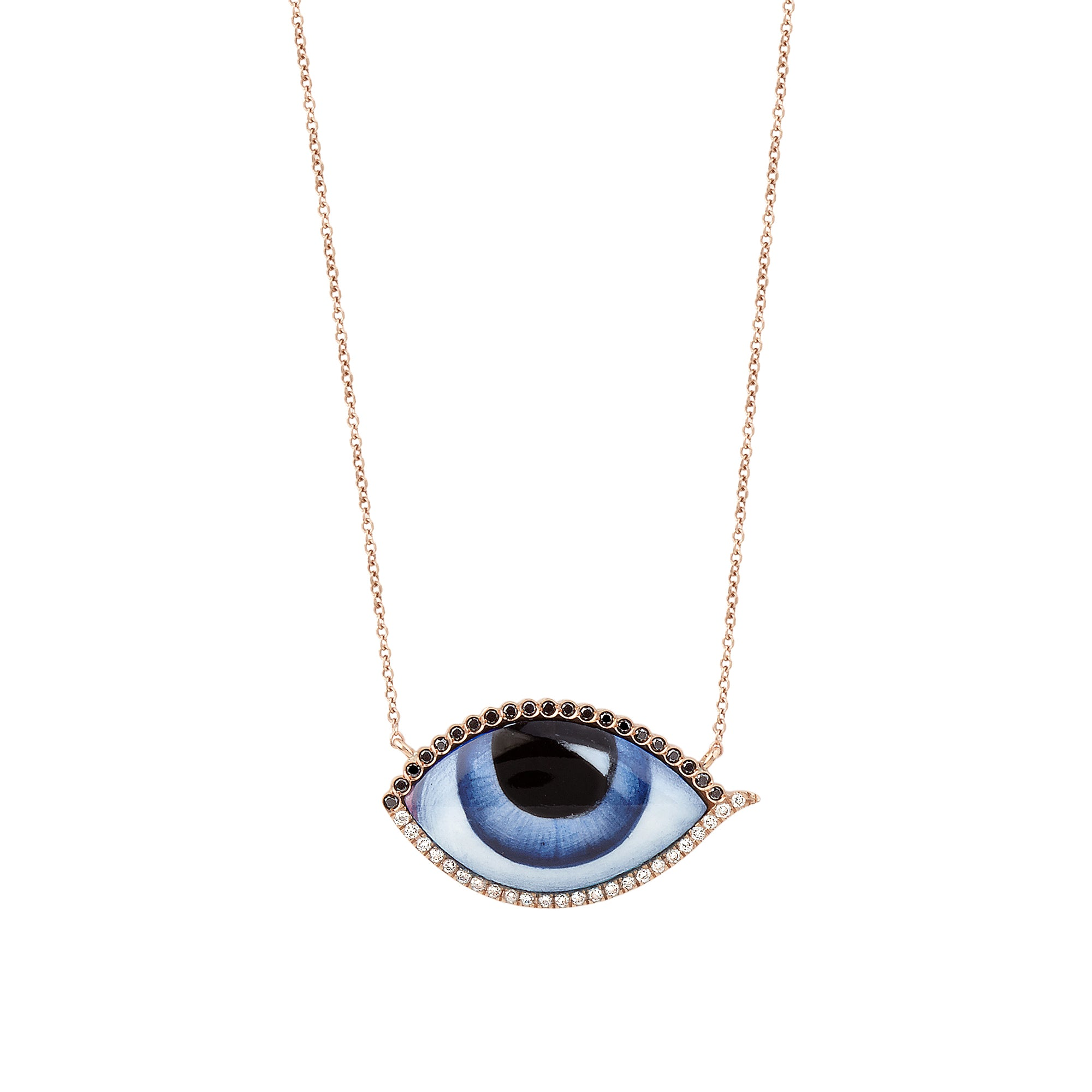 Pink Gold Blue Eye Necklace - Lito - Necklace | Broken English Jewelry