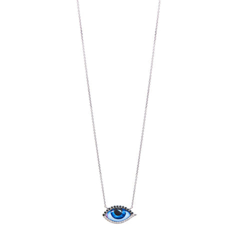 Small Diamond Blue Eye Necklace - Lito - Necklace | Broken English Jewelry