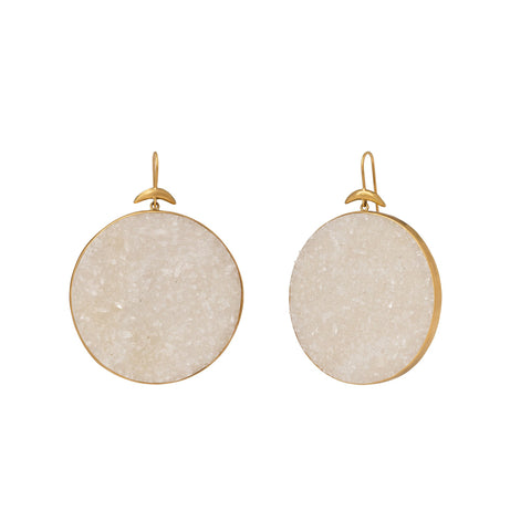 White Crystal Drusy Luna Earrings