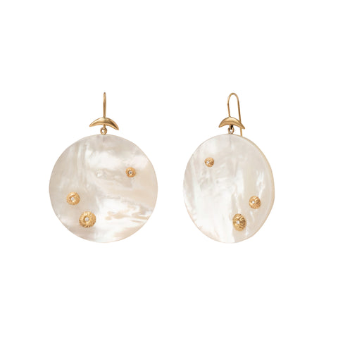 Large White Mother of Pearl Luna Earrings - Annette Ferdinansen - Earrings | Broken English Jewelry