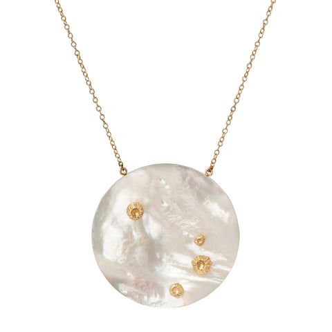 Large White Mother of Pearl Luna Pendant Necklace  - Annette Ferdinansen - Necklaces | Broken English Jewelry