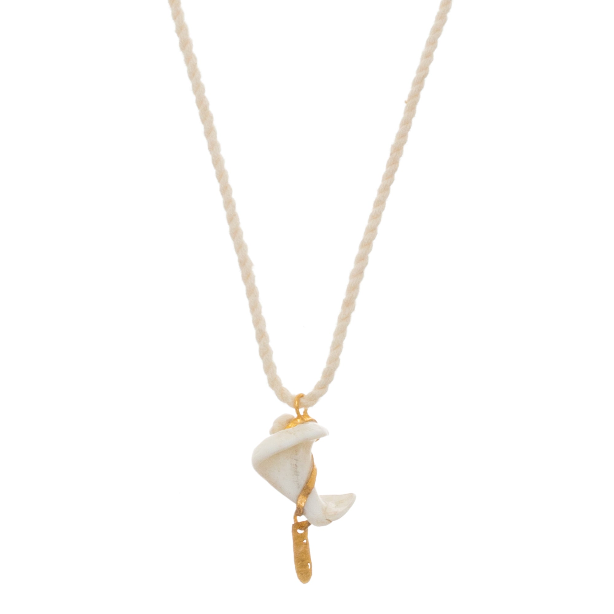 Gold & Spiral Shell Pendant by Lou Zeldis for Broken English Jewelry