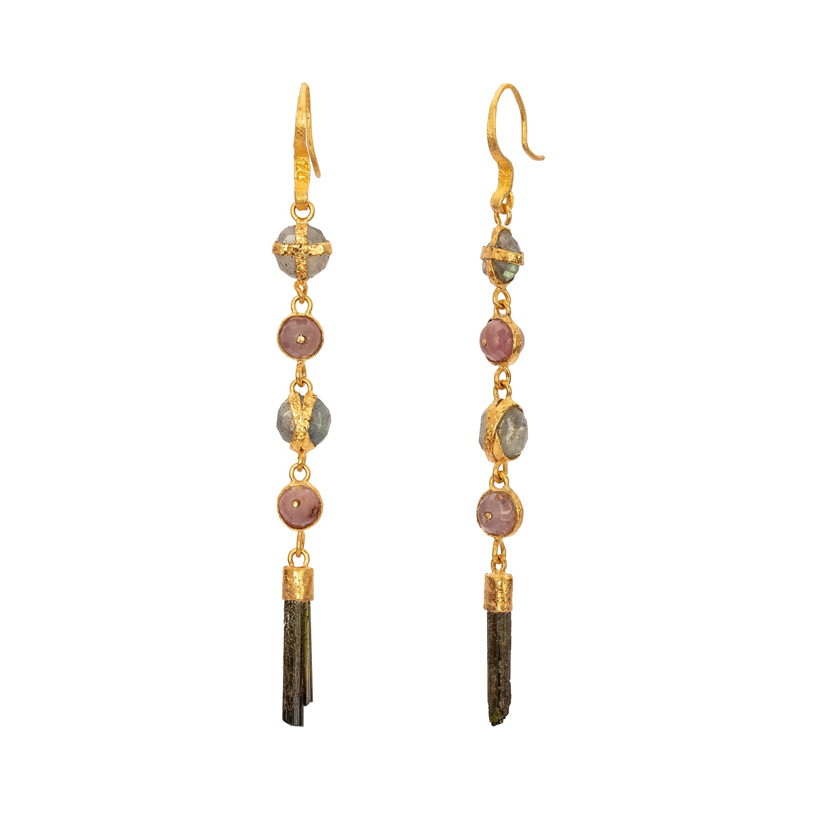 Lou Zeldis Five Drop Ruby & Sapphire & Tourmaline Earrings - Earrings - Broken English Jewelry