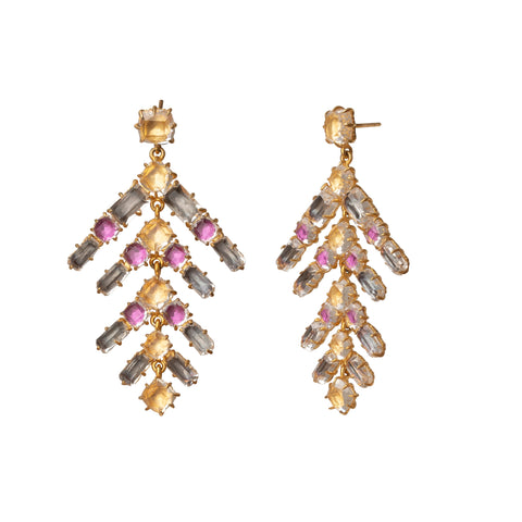 Caterina Branch Multi-Bright Chandelier Earrings