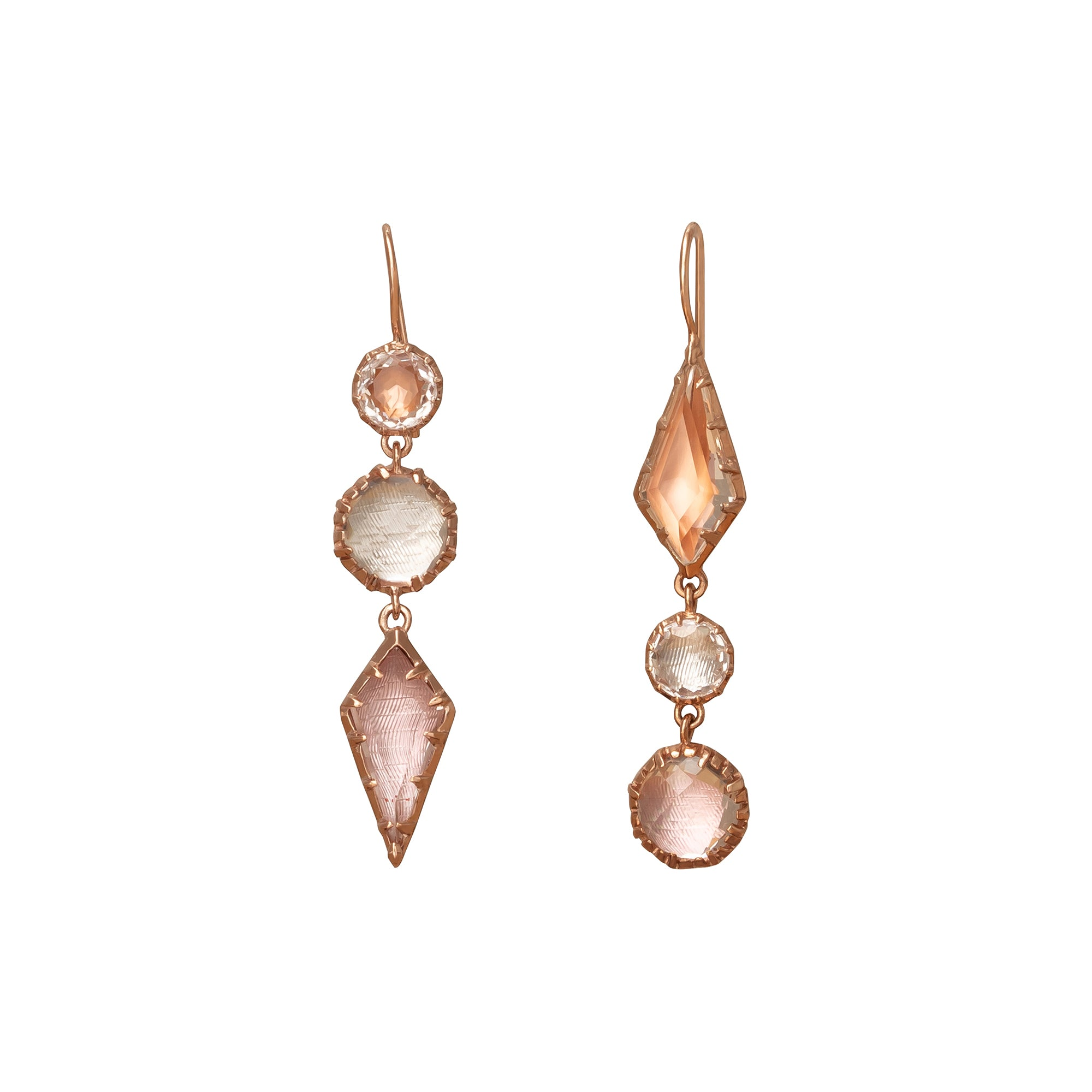 Sadie Mis-Matched Bubble Three Drop Earrings