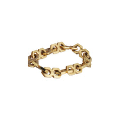 Gold Hexagon Chain Ring by Michelle Fantaci for Broken English Jewelry