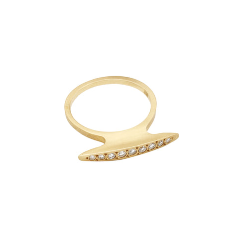 Gold & Whtie Diamond Hammerhead Diamond Ring by Michelle Fantaci for Broken English Jewelry
