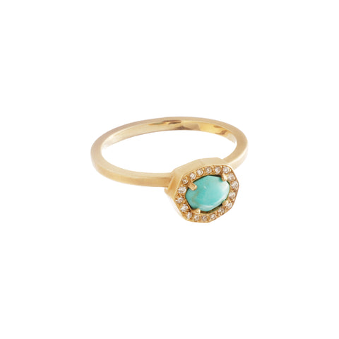 Gold White Diamond Nomad Octagonal Turquoise Ring by Michelle Fantaci for Broken English Jewelry
