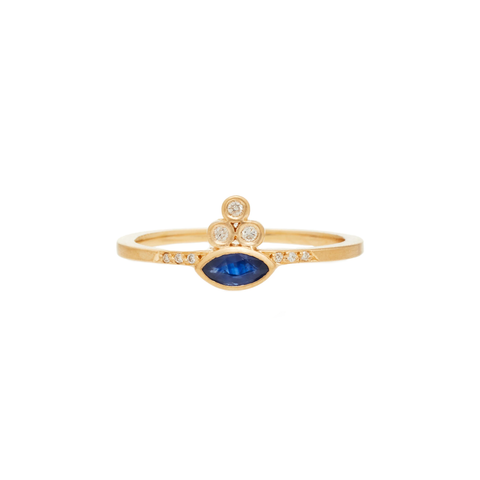 Sapphire Sensu Marquis Ring by Michelle Fantaci for Broken English Jewelry
