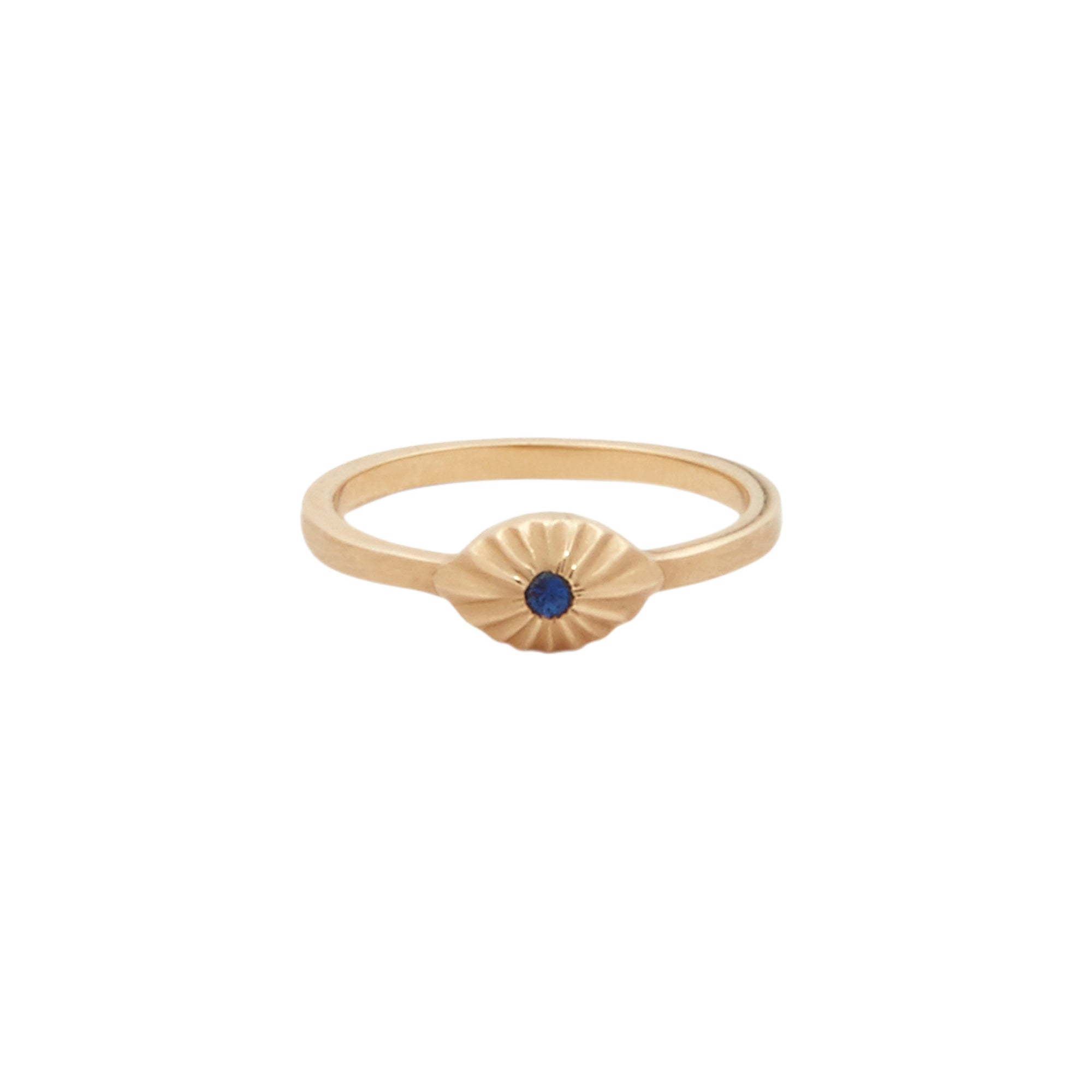 Gold & Sapphire Bright Eye Ring by Michelle Fantaci for Broken English Jewelry