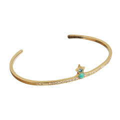 Gold Turquoise White Diamond Pawn Cuff by Michelle Fantaci for Broken English Jewelry