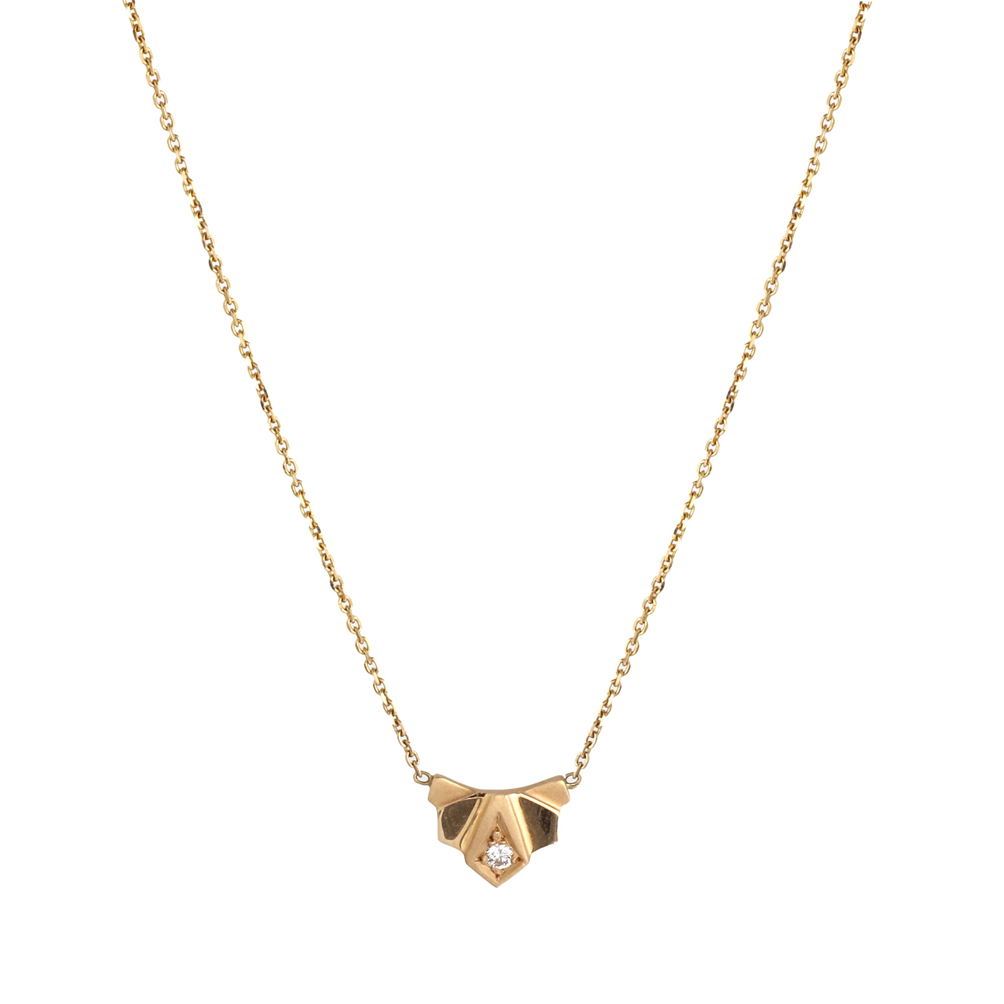Gold & White Diamond Nomad Fan Necklace by Michelle Fantaci for Broken English Jewelry