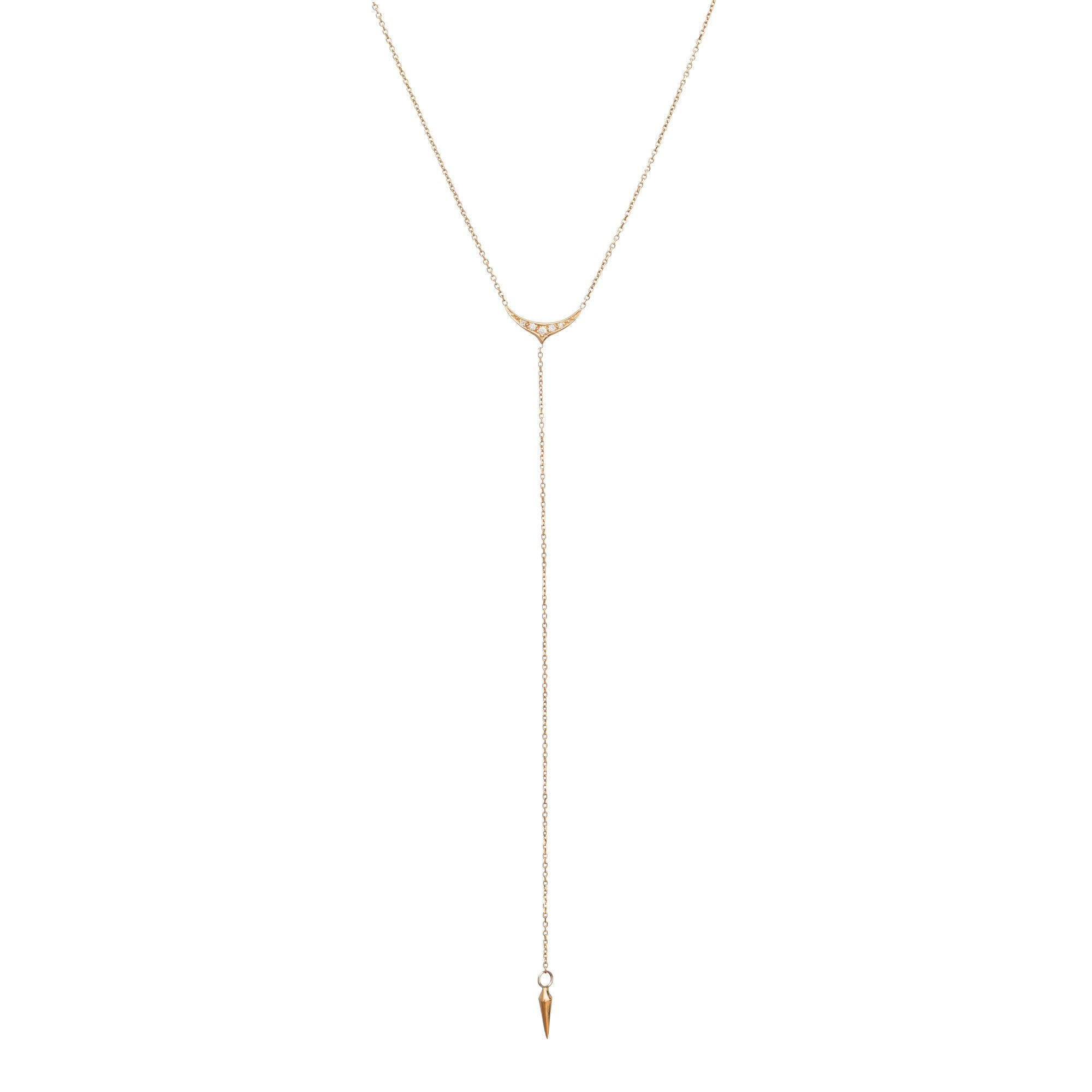Gold & White Diamond Litle Bird Lariat by Michelle Fantaci for Broken English Jewelry