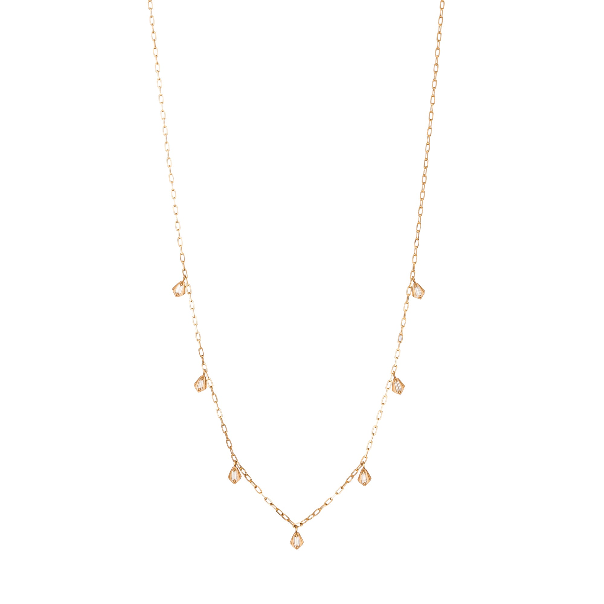 Gold & White Diamond Nomad Lantern Necklace by Michelle Fantaci for Broken English Jewelry