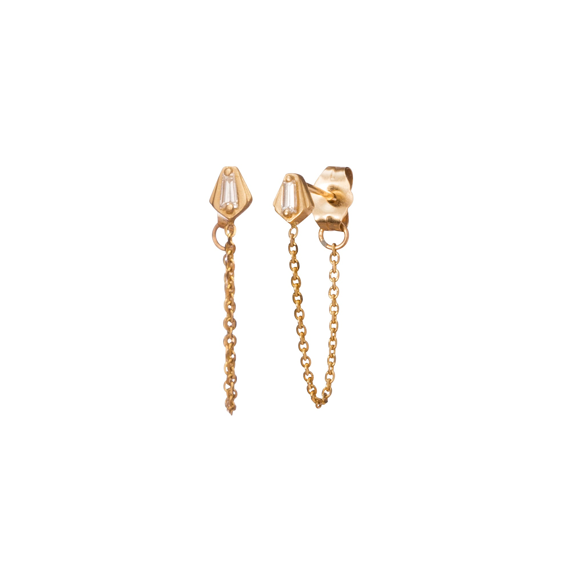Gold & White Diamond Nomad Lantern Chain Earrings by Michelle Fantaci for Broken English Jewelry