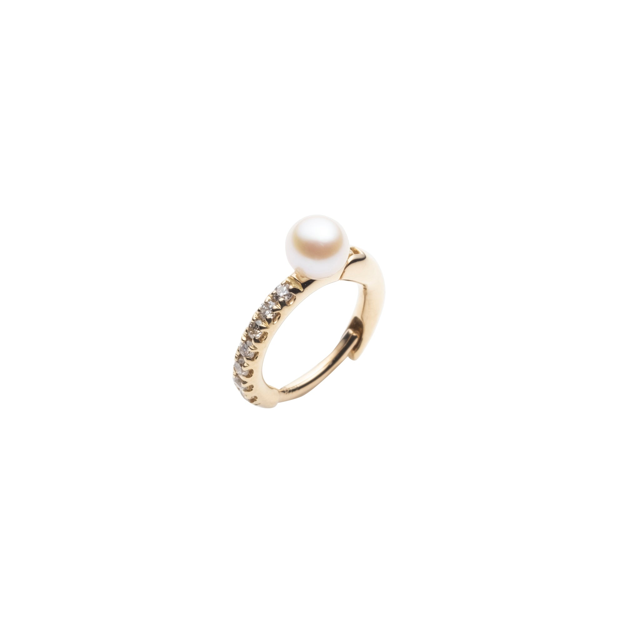 Huggie - Akoya Pearl & Diamond - Pearl - Earrings - Broken English Jewelry