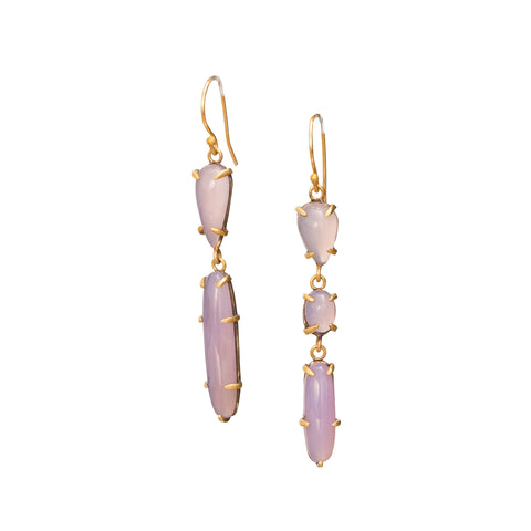 Chalcedony Earrings by Margery Hirschey for Broken English Jewelry