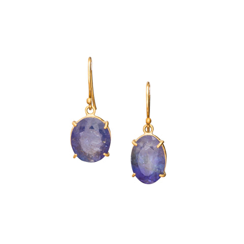 Tanzanite Earrings by Margery Hirschey for Broken English Jewelry