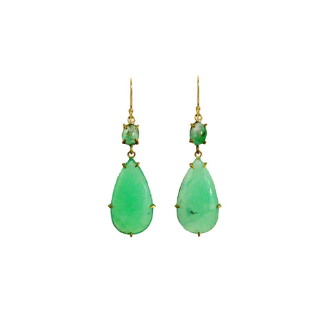 Chrysoprace and Emerald Double Drop Earrings - Margery Hirschey - Earrings  | Broken English Jewelry