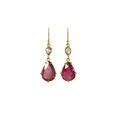 Tourmaline and Diamond Two Stone Earrings - Margery Hirschey - Earrings  | Broken English Jewelry