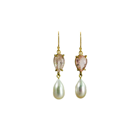 Morganite and Freshwater Pearl Earrings - Margery Hirschey - Earrings  | Broken English Jewelry