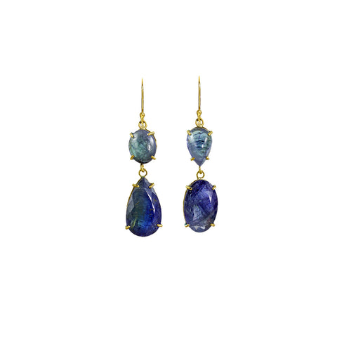 Tanzanite Cabachon Two Stone Earrings - Margery Hirschey - Earrings  | Broken English Jewelry