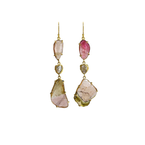 Freeform Tourmaline and Diamond Earrings - Margery Hirschey - Earrings  | Broken English Jewelry