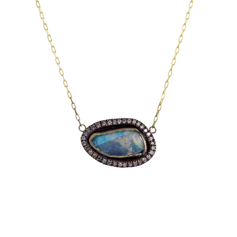 Boulder Opal Pendant Necklace with Diamonds - Margery Hirschey - Necklaces | Broken English Jewelry