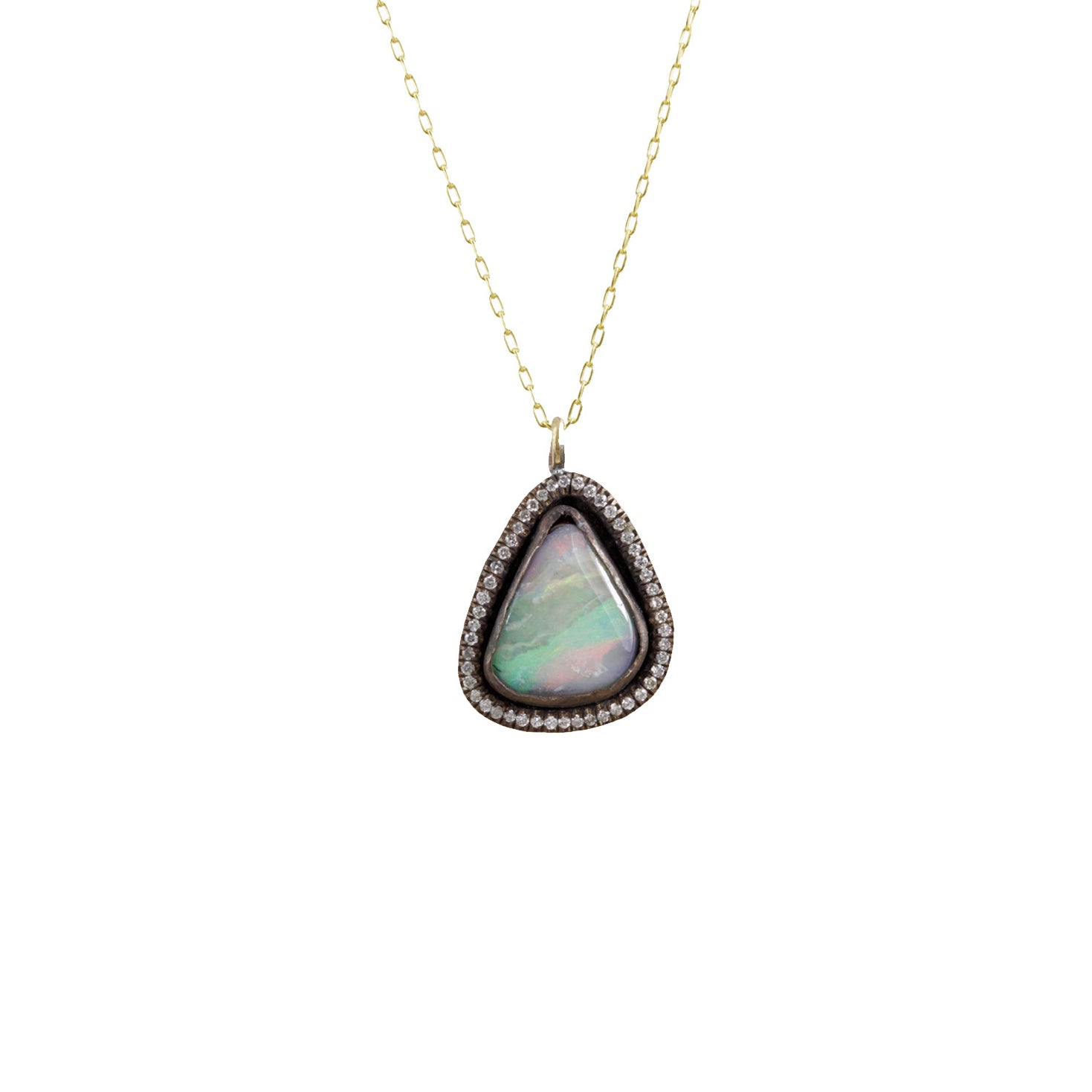 Boulder Opal and Diamond Pendant Necklace - Margery Hirschey - Necklaces | Broken English Jewelry
