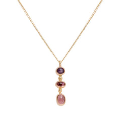 Gold Sapphire Tourmaline Three Drop Necklace by Melissa Joy Manning for Broken English Jewelry