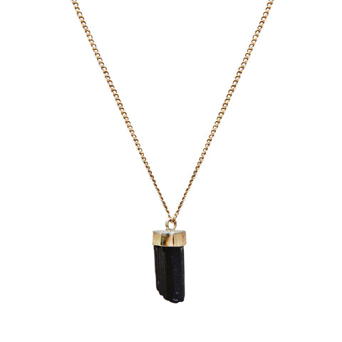 Gold Black Tourmaline Necklace by Melissa Joy Manning for Broken English Jewelry