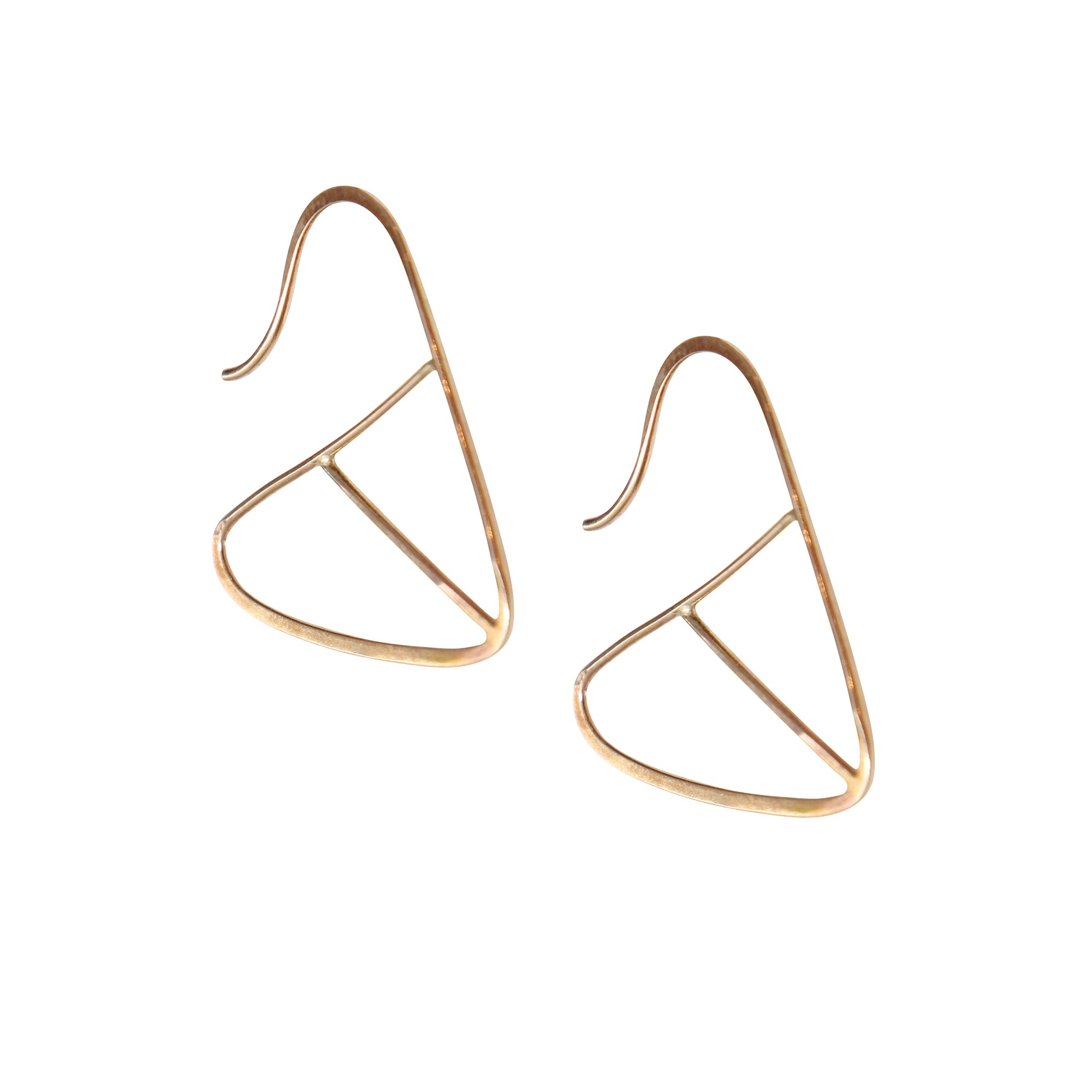 Gold Geometric Triangle Earrings by Melissa Joy Manning for Broken English Jewelry