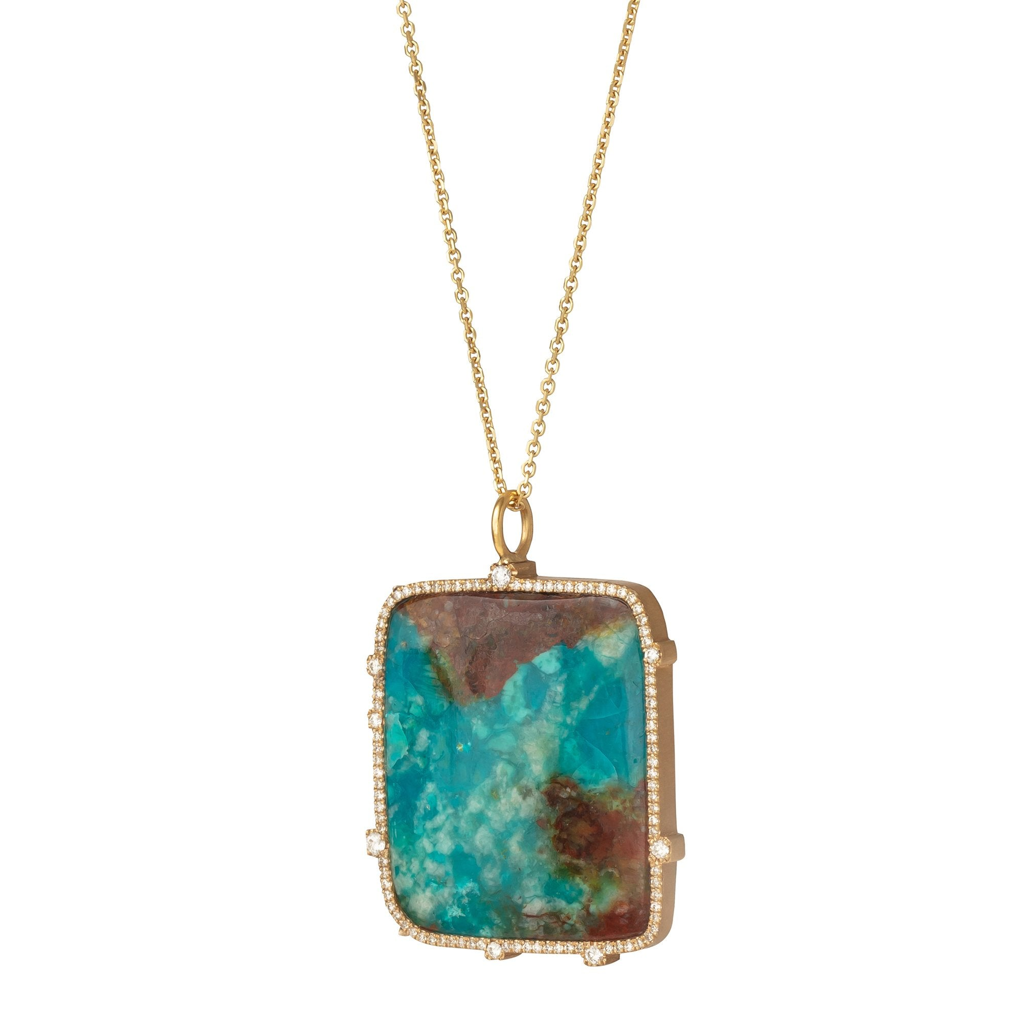Chrysocolla and Diamond Pendant Necklace - Marisa Klass - Necklaces | Broken English Jewelry