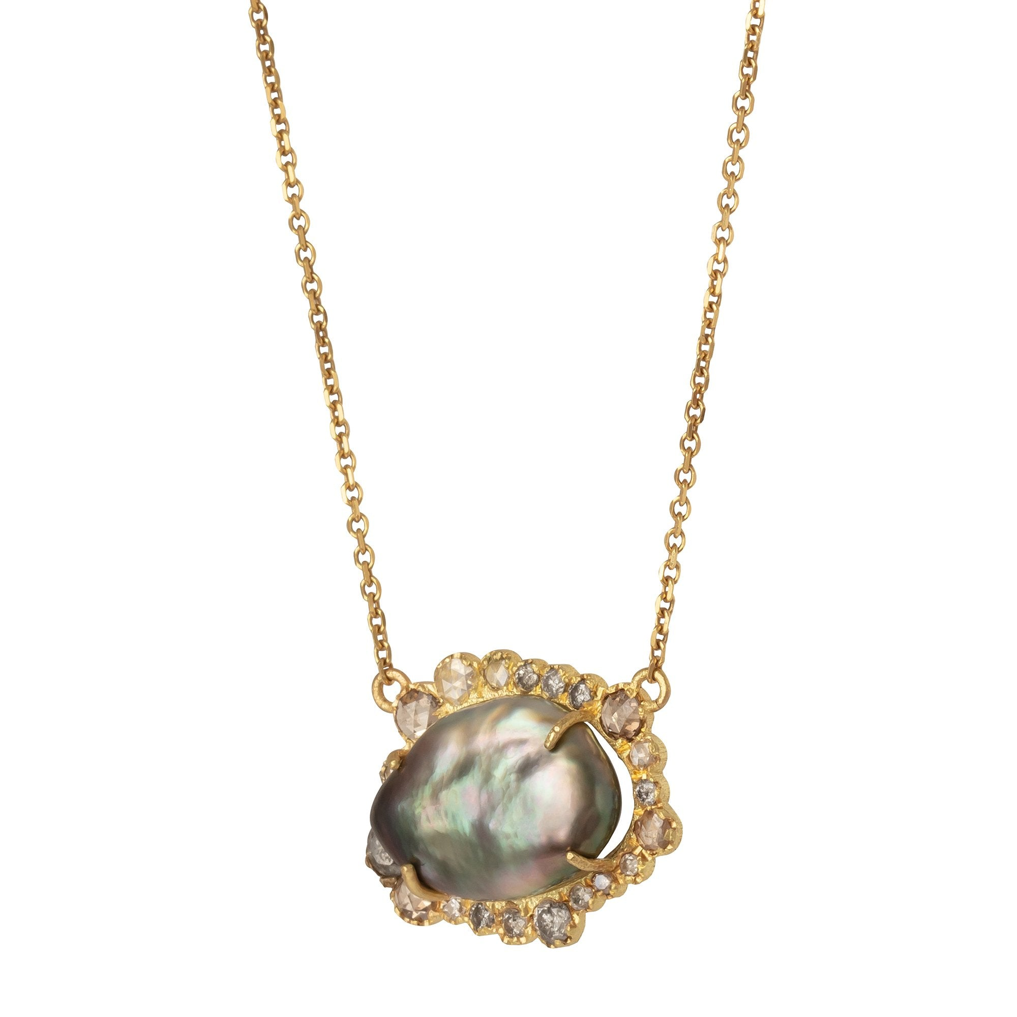 Keshi Pearl and Diamond Pendant Necklace - Marisa Klass - Necklaces | Broken English Jewelry