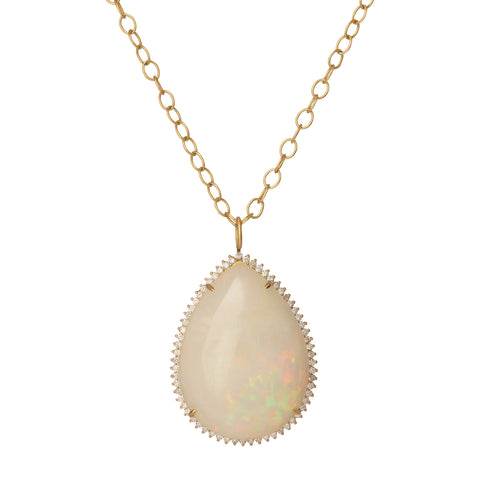 Opal and Diamond Pendant Necklace - Marisa Klass - Necklaces | Broken English Jewelry
