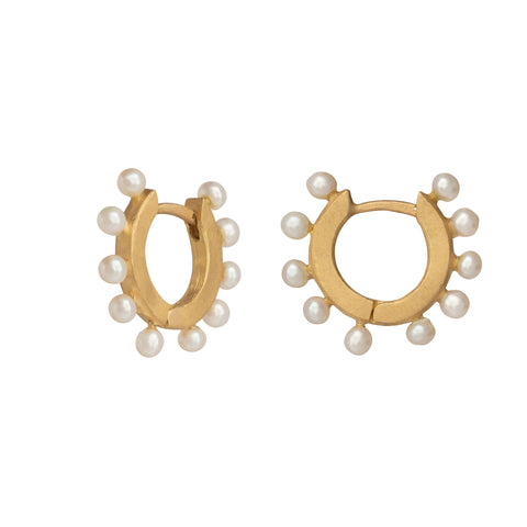Pearl Huggie Earrings - Marisa Klass - Earrings | Broken English Jewelry
