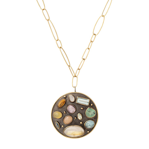 Oxidized Silver and Multi Stone Pendant Necklace - Marisa Klass - Necklaces | Broken English Jewelry