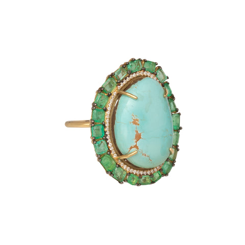 Turquoise Emerald and Diamond Ring - Marisa Klass - Rings | Broken English Jewelry