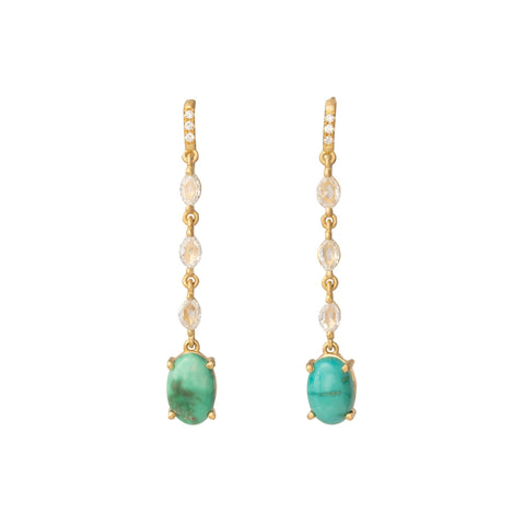 Turquoise and Rose Cut Diamond Earrings - Marisa Klass - Earrings | Broken English Jewelry